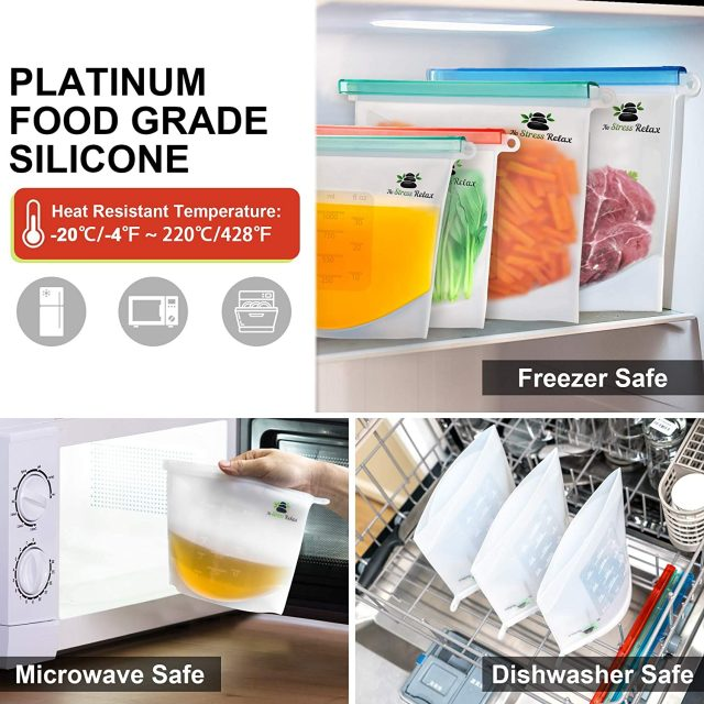 Reusable Silicone Food Storage Bags 6 Pcs [2x1.5L+4x1L] With Hermetic Lid