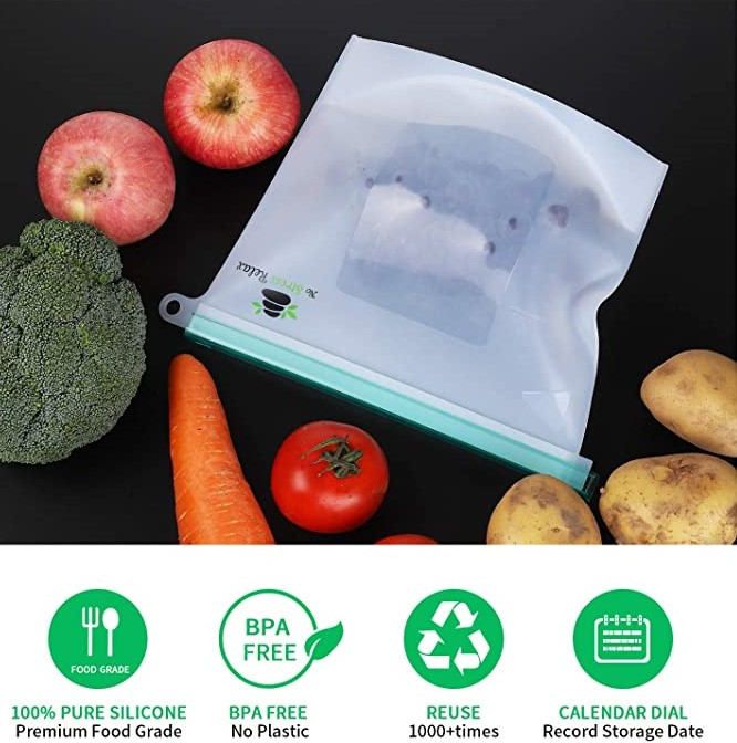 Store Anything with No Stress Relax Reusable Silicone Food Storage Bags